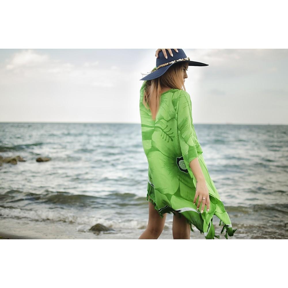 Плажна Туника в Зелено с Цветя