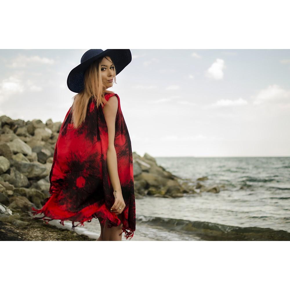 Плажна Туника в Червено и Черно