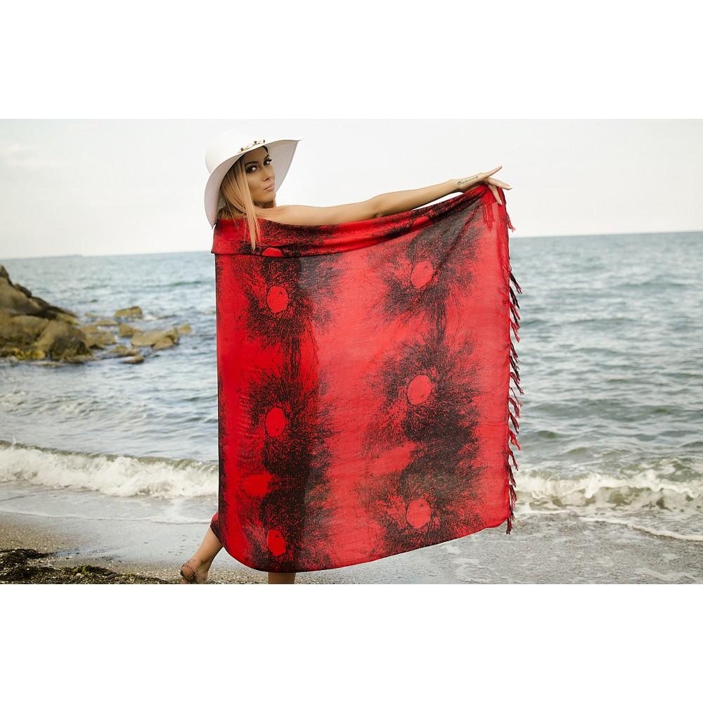 Плажен Шал в Червено и Черно