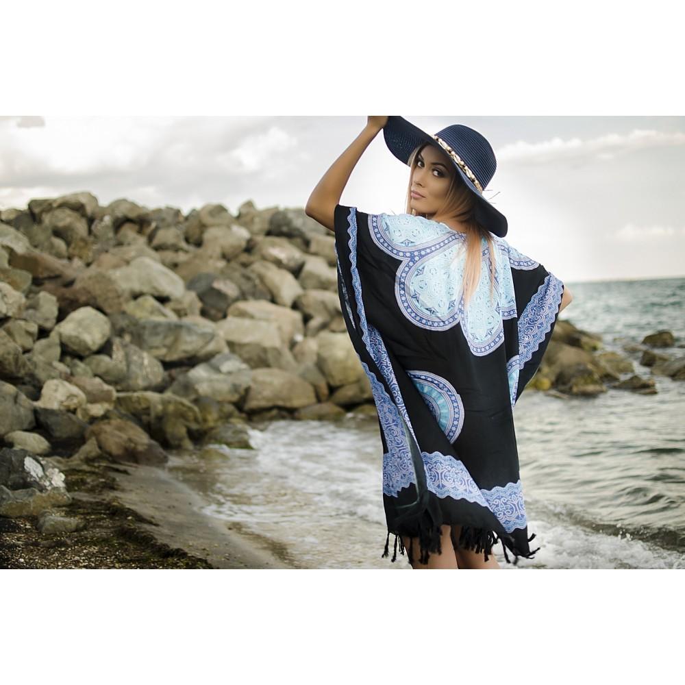 Плажна Туника в Черно и Синьо с Орнаменти
