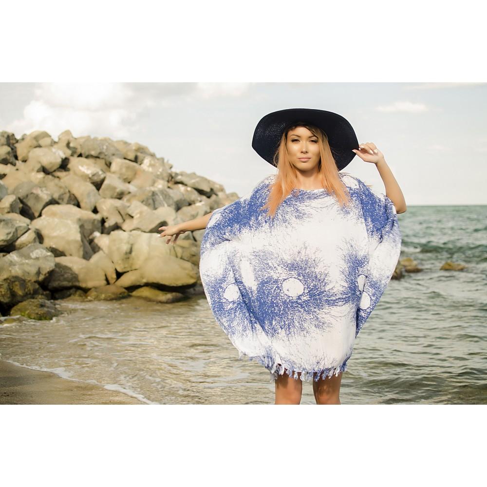 Плажна Туника в Бяло и Синьо на Пръски