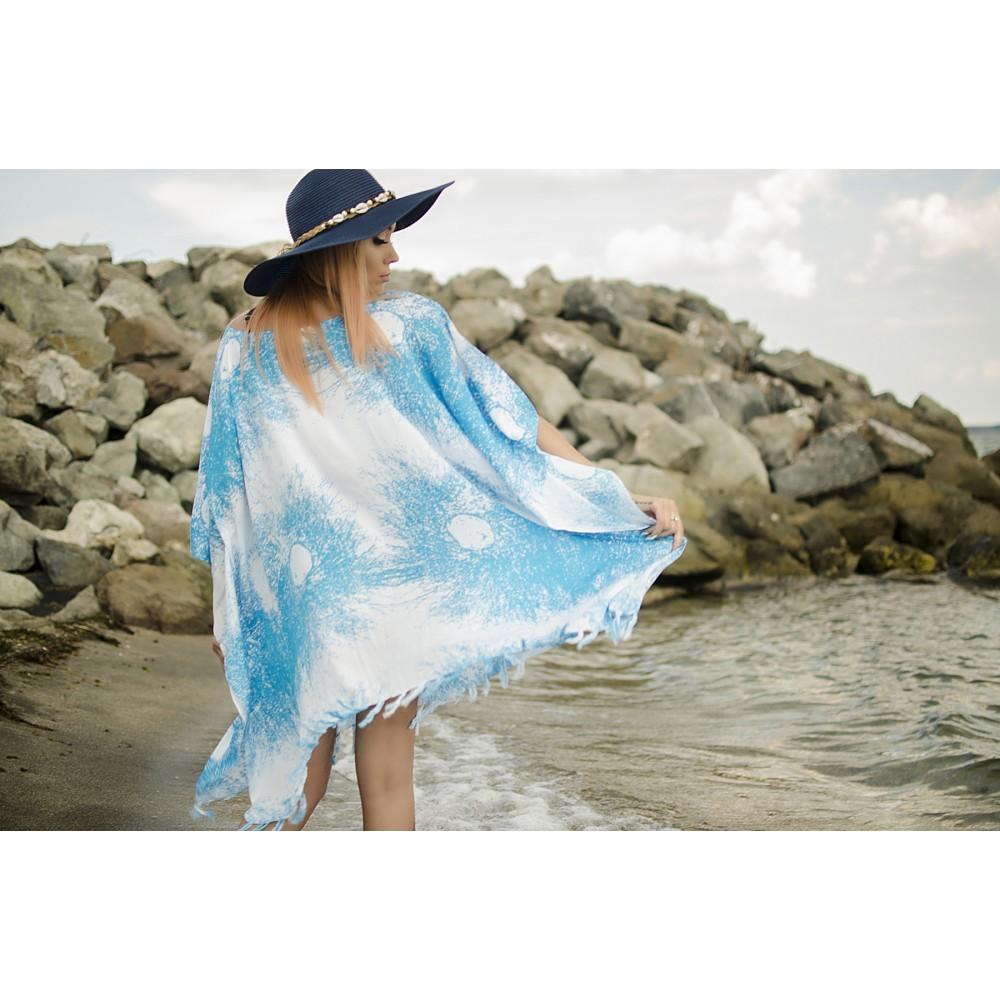 Плажна Туника в Бяло и Светло Синьо на Пръски