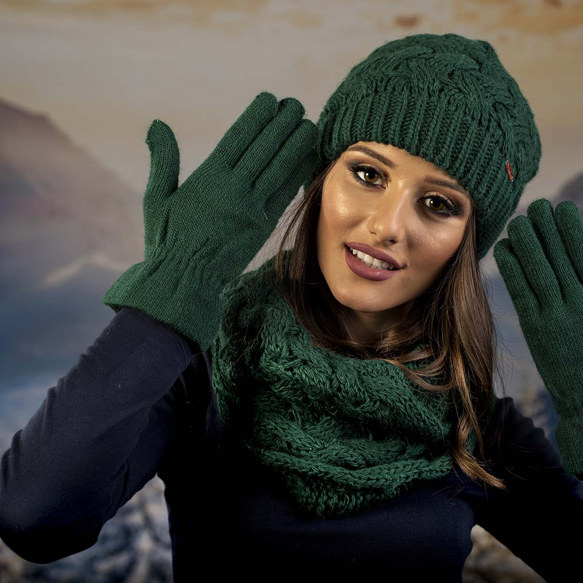 Дамски Зимен Зелен комплект