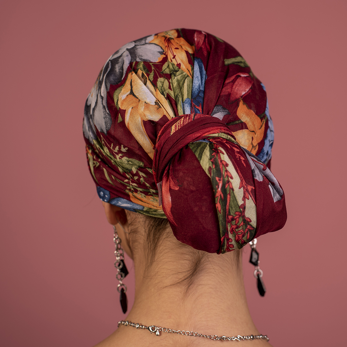 Дамски Тюрбан в Бордо на Цветя