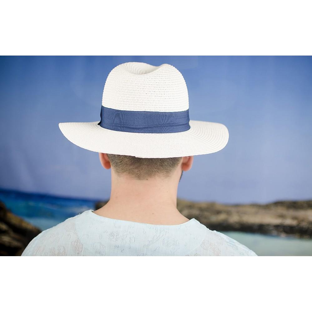 Мъжка Лятна Бяла Шапка Със Синя Лента