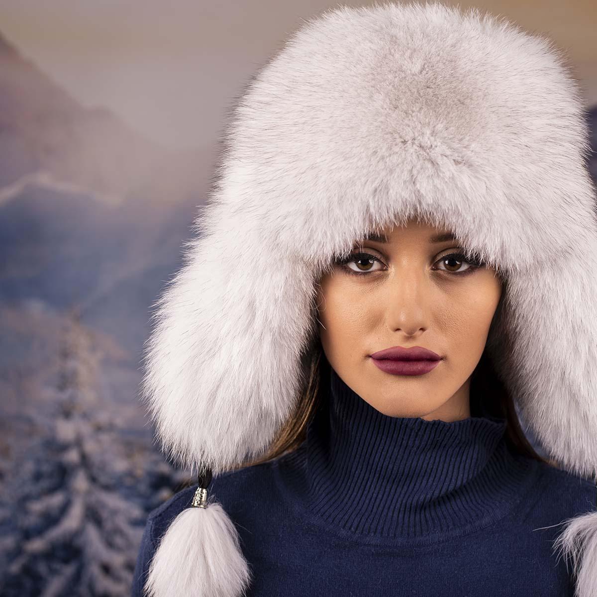 Зимна Дамска Шапка Косъм Лисица