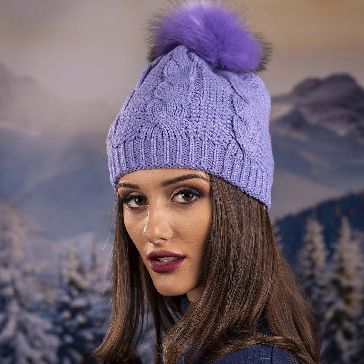 Дамска Зимна шапка Тъмно Лилава