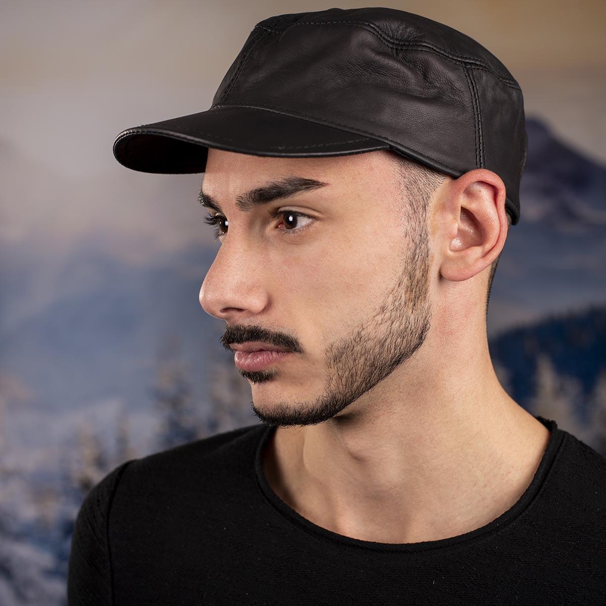 Мъжка шапка от Телешки бокс Тъмно кафява