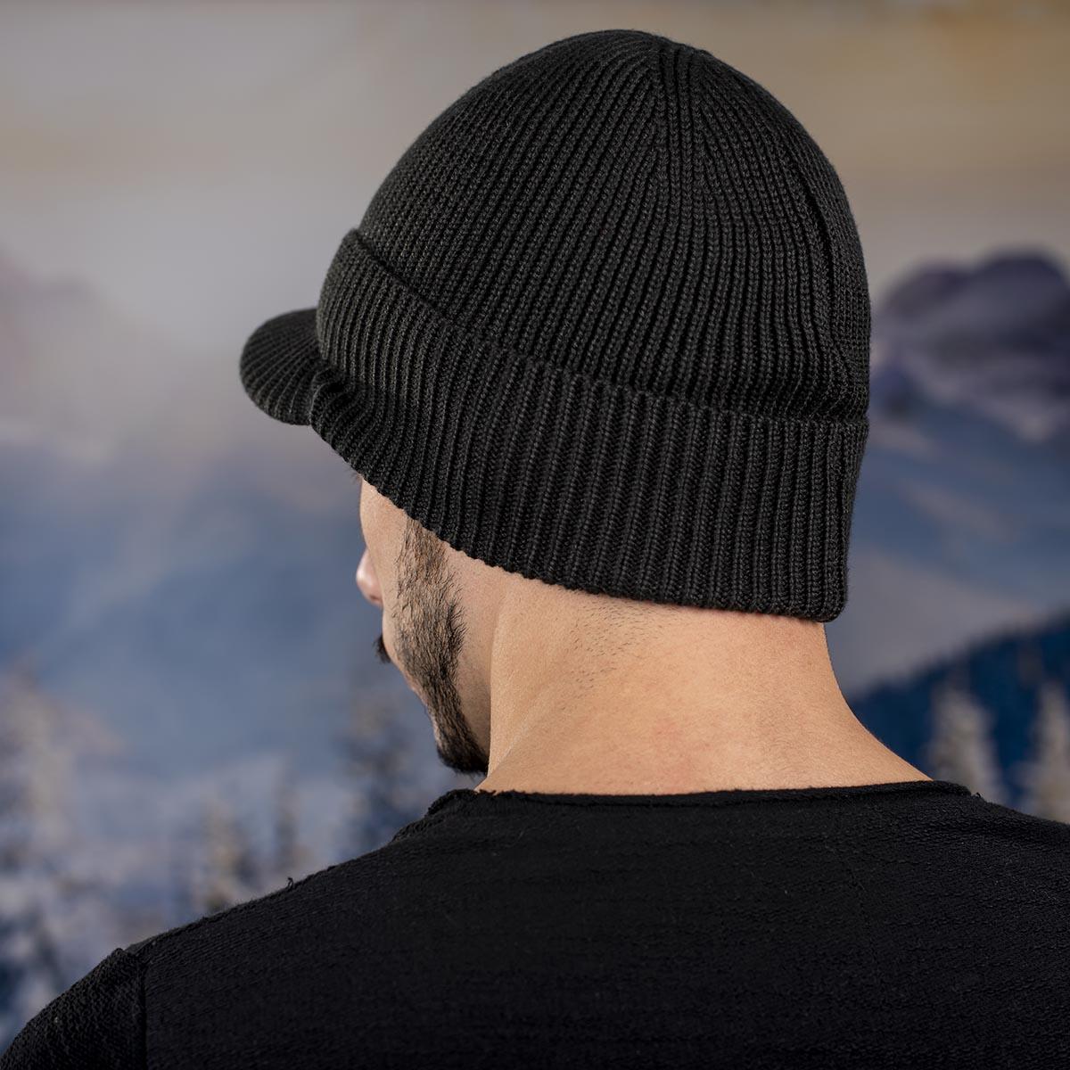 Мъжка Зимна шапка с козирка Тъмно сива