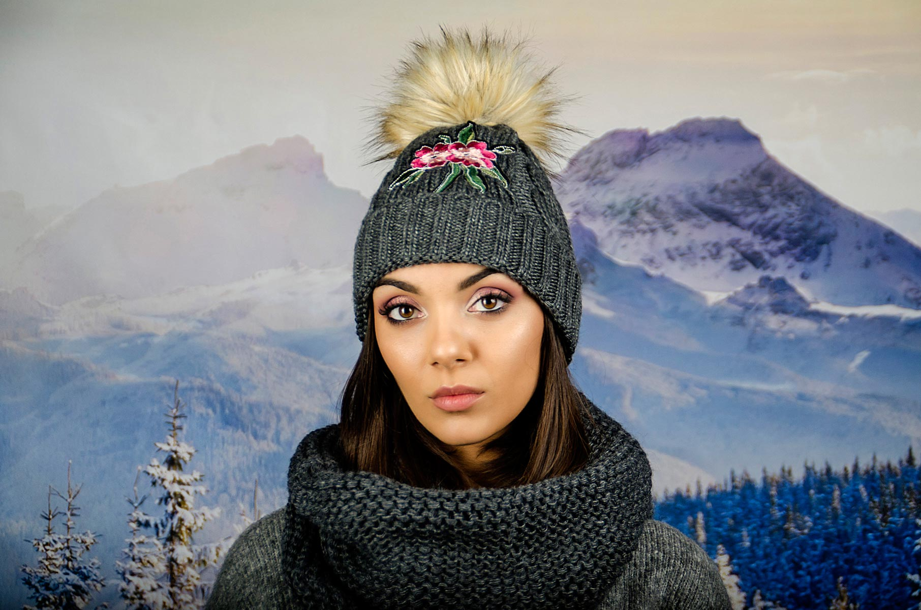 Дамски Зимен Комплект Сив