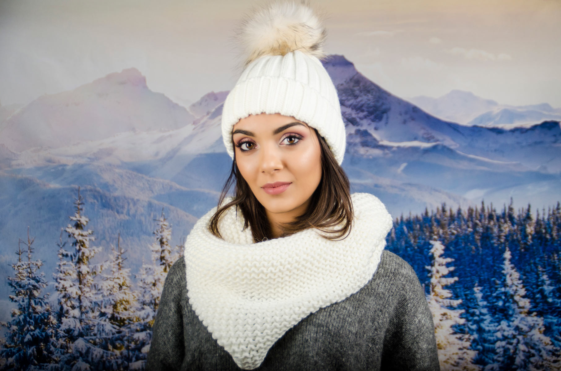 Бял Дамски Зимен Комплект