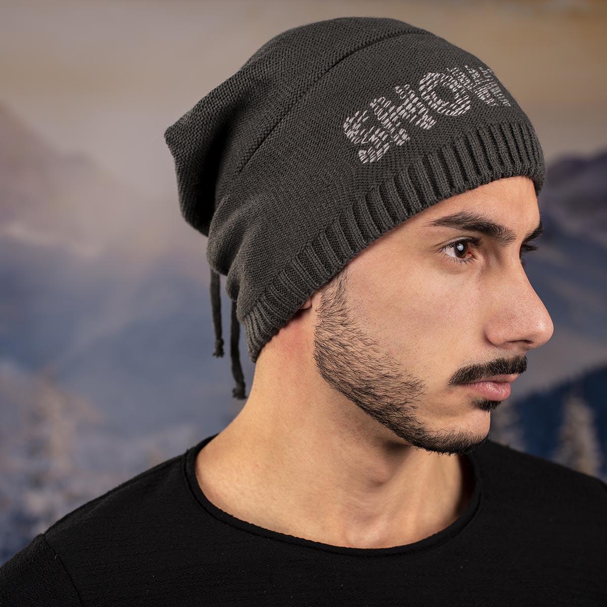Мъжка Зимна Виснала шапка Черна