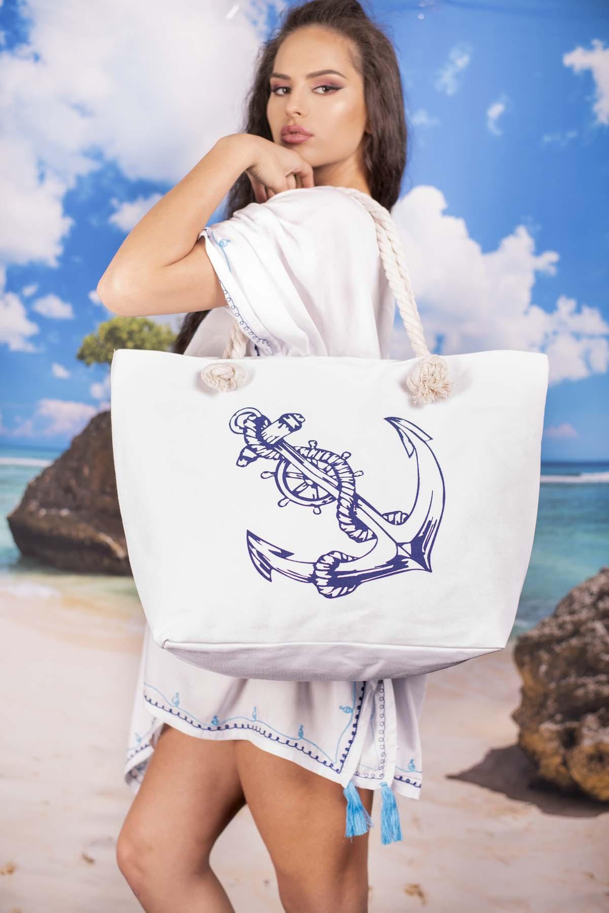Плажна Бяла Чанта с Котва