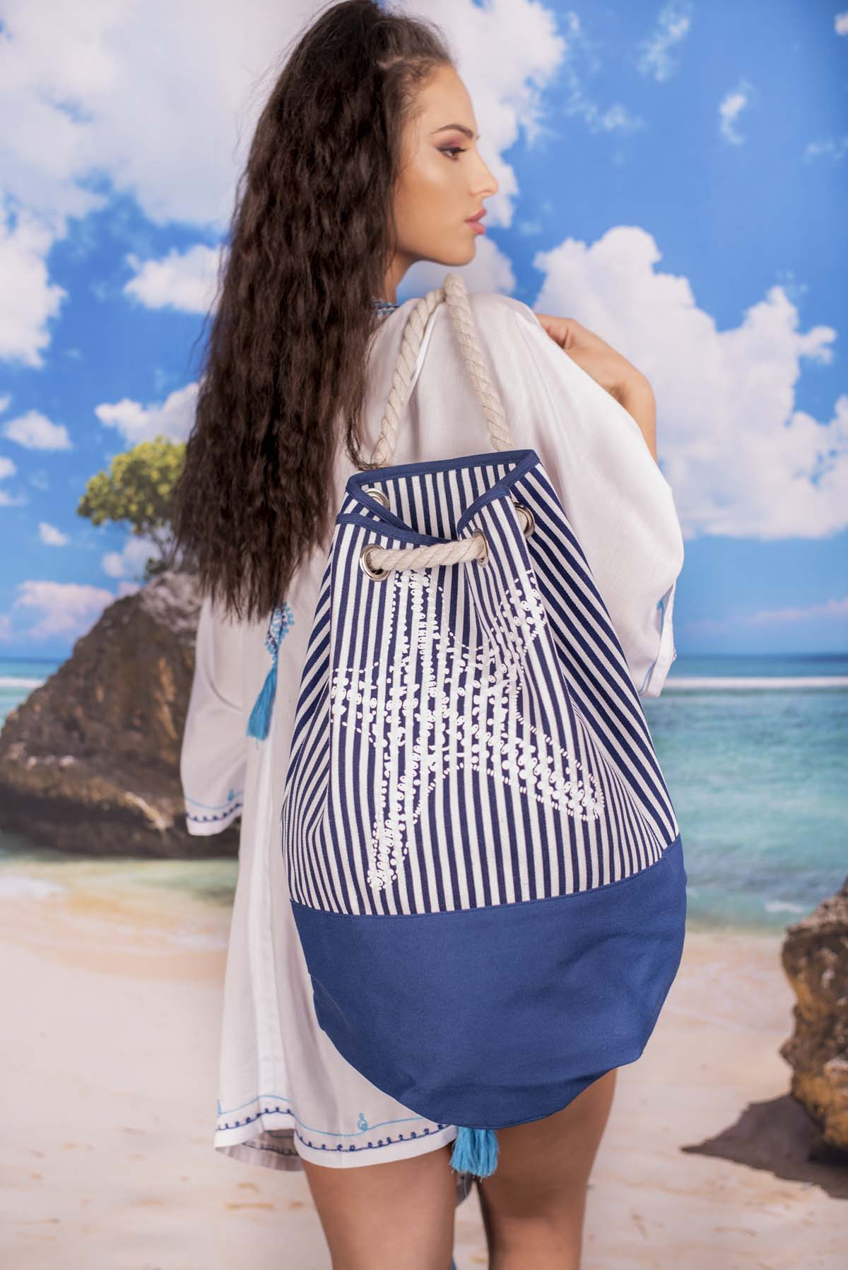 Плажна Чанта в Синьо с Морска Звезда