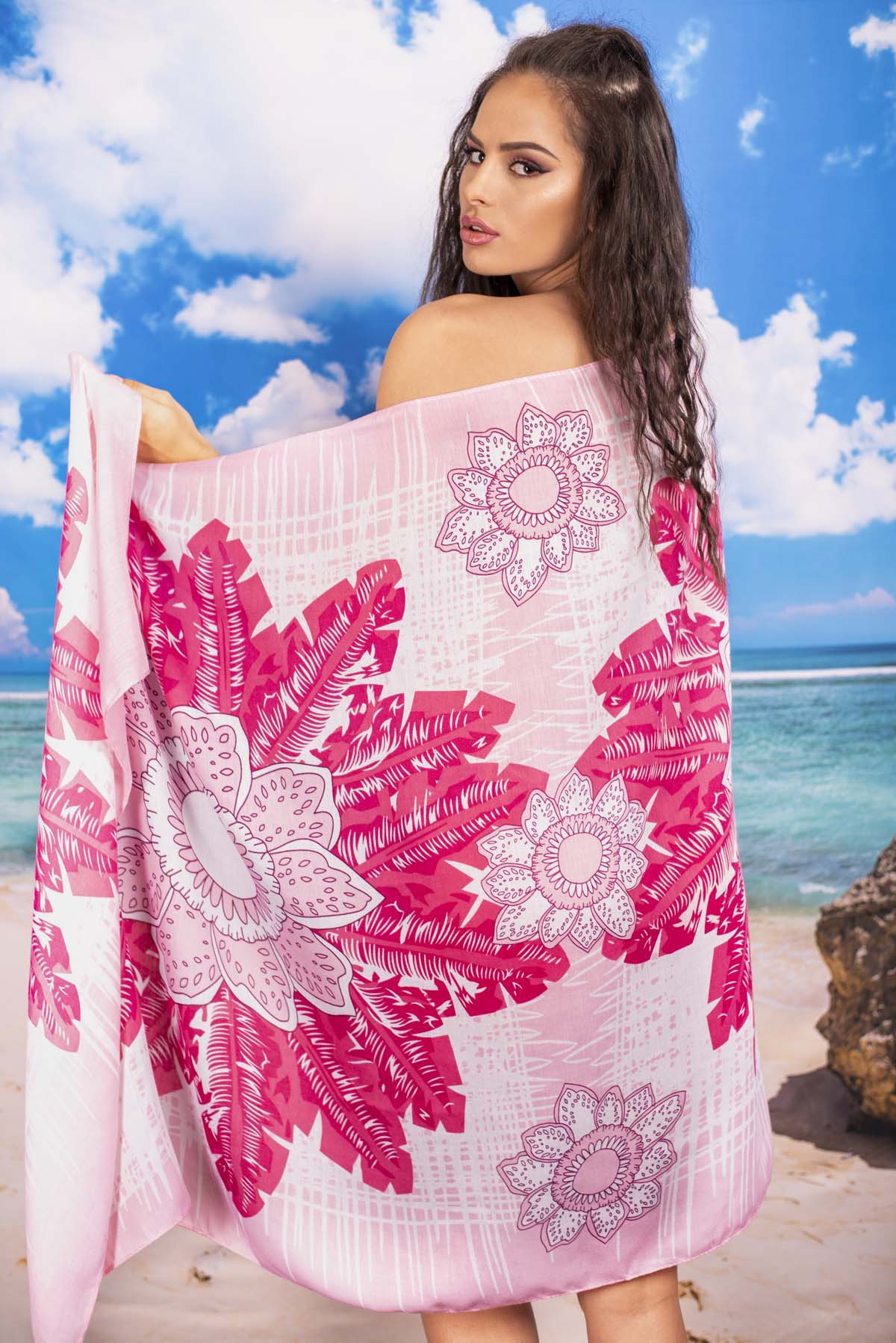 Плажен Шал в Розови Нюанси