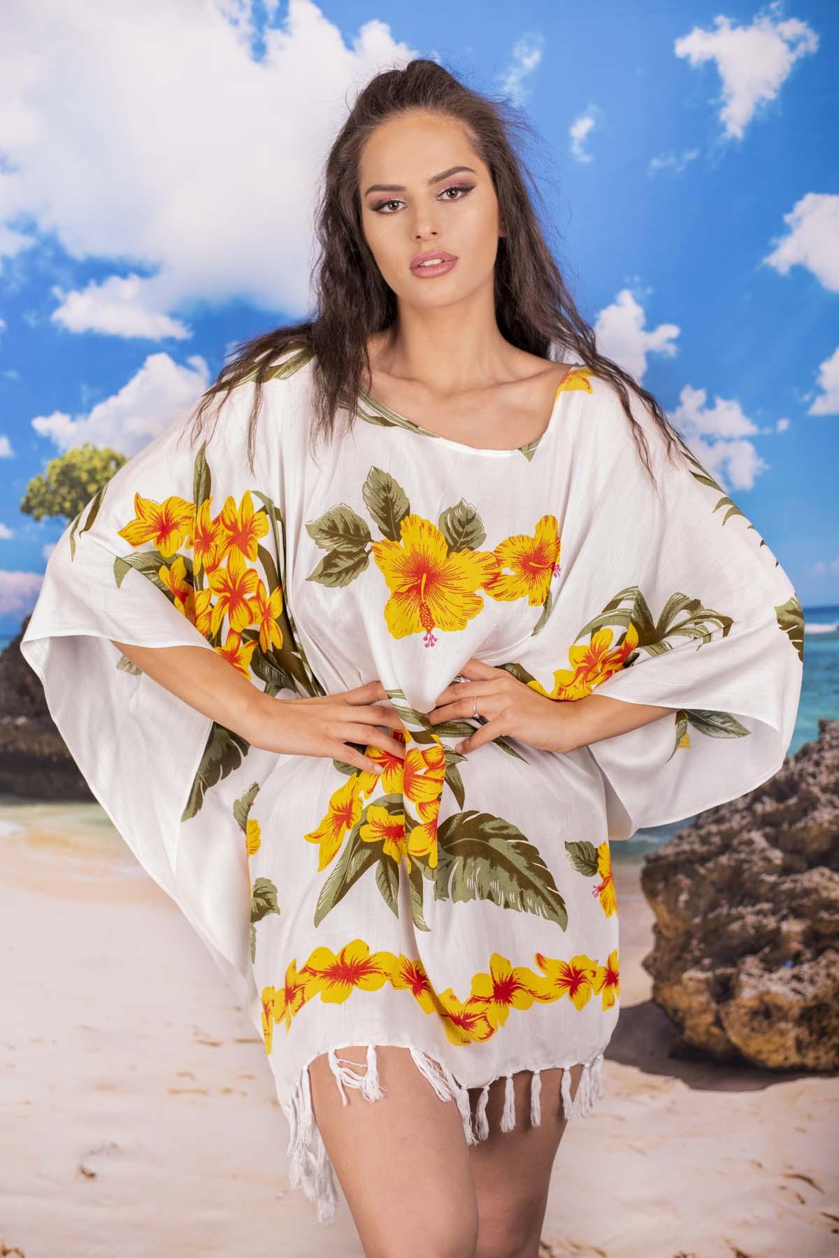 Плажна Туника в Бяло с Жълти Цветя