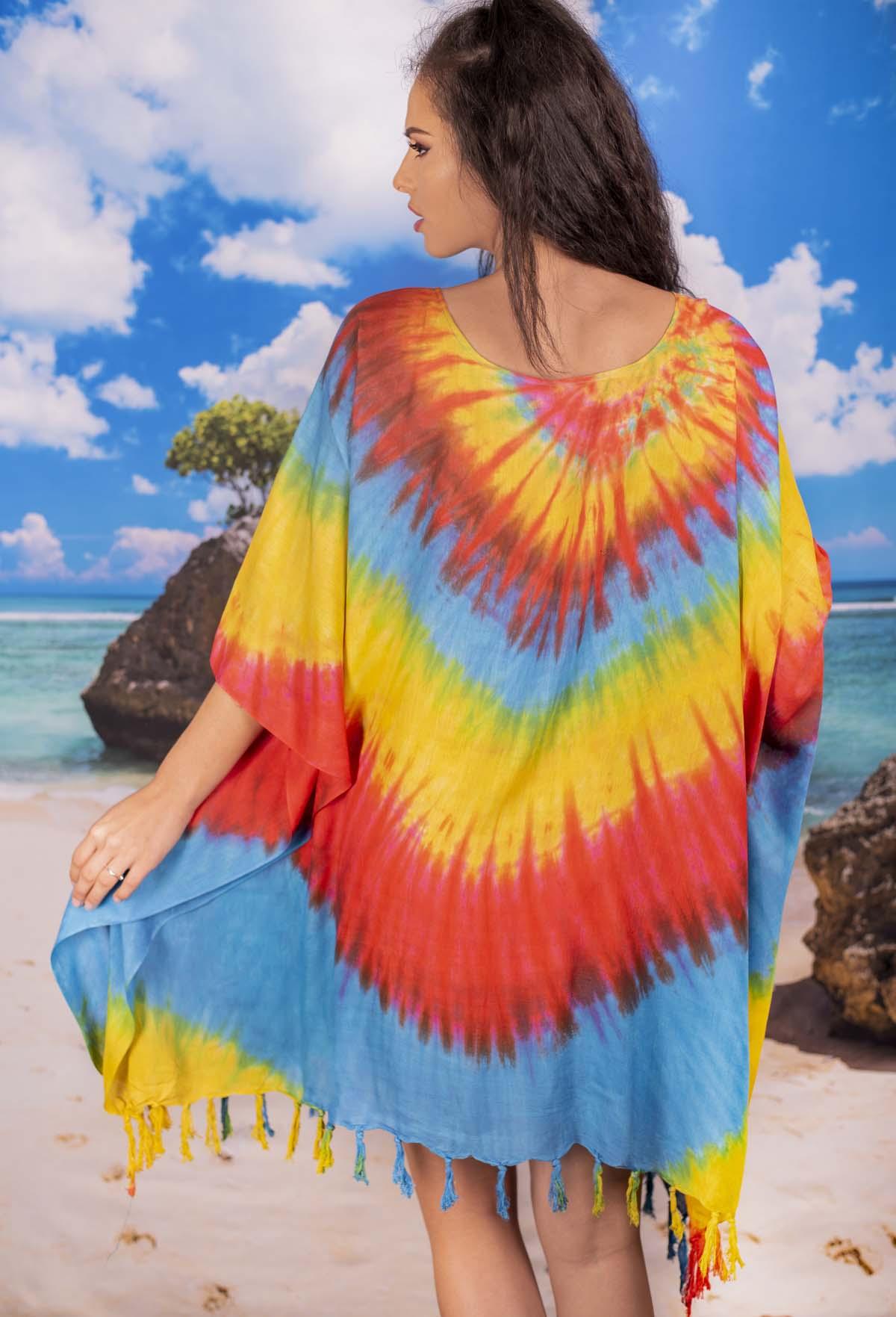 Плажна Туника в Преливащи Наситени Цветове