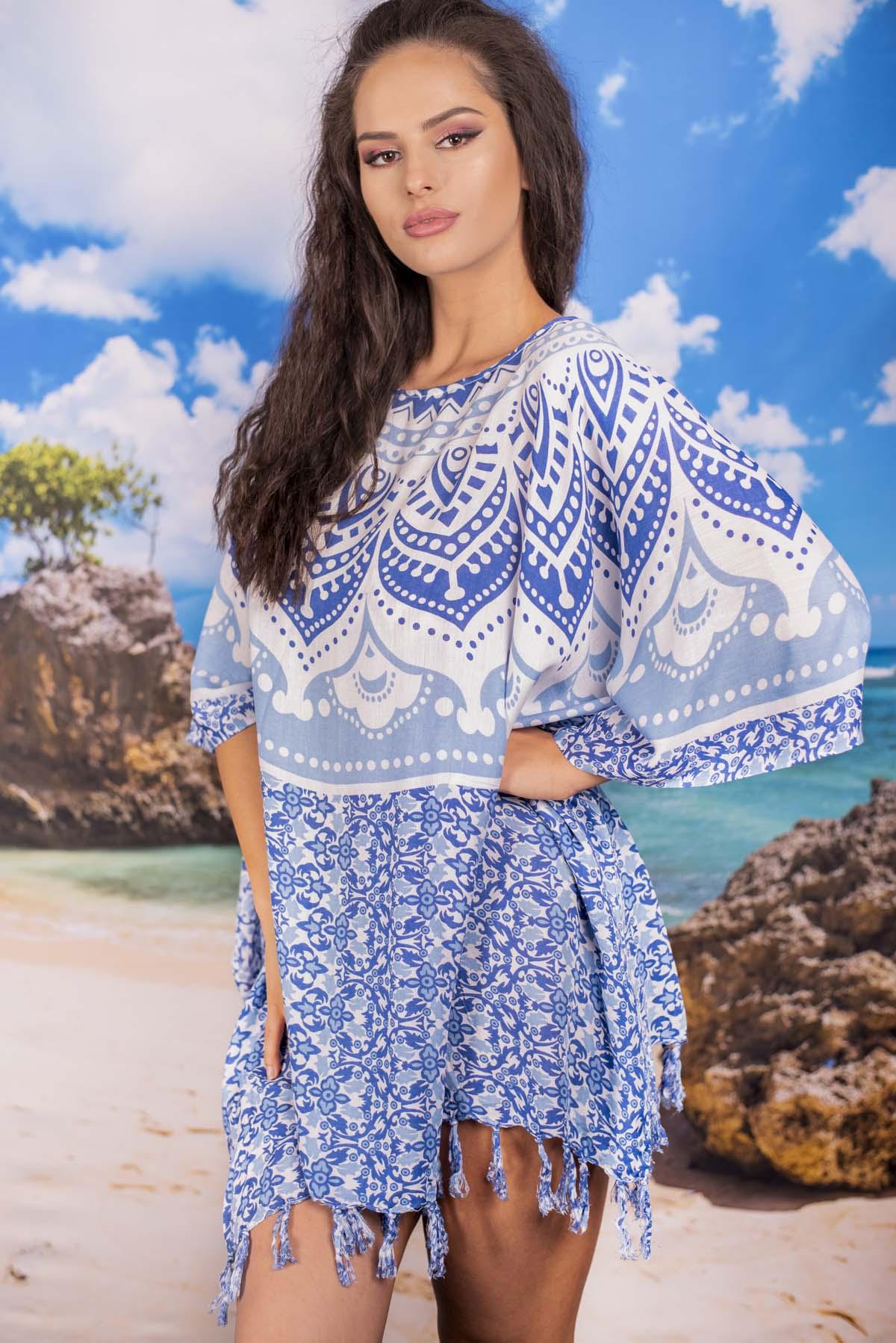 Плажна Туника в Сини Орнаменти