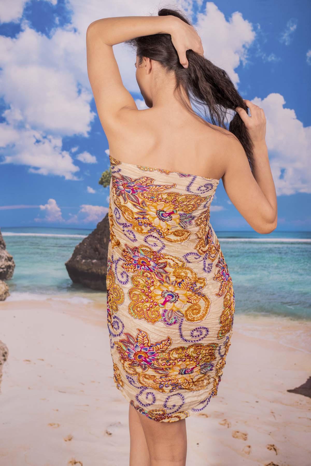 Ефирен Плажен Шал в Бежово на Жълти Цветя