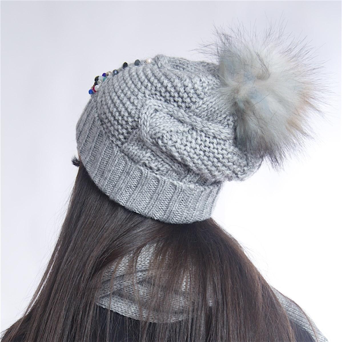 Дамски зимен комплект от 3 части светло сив
