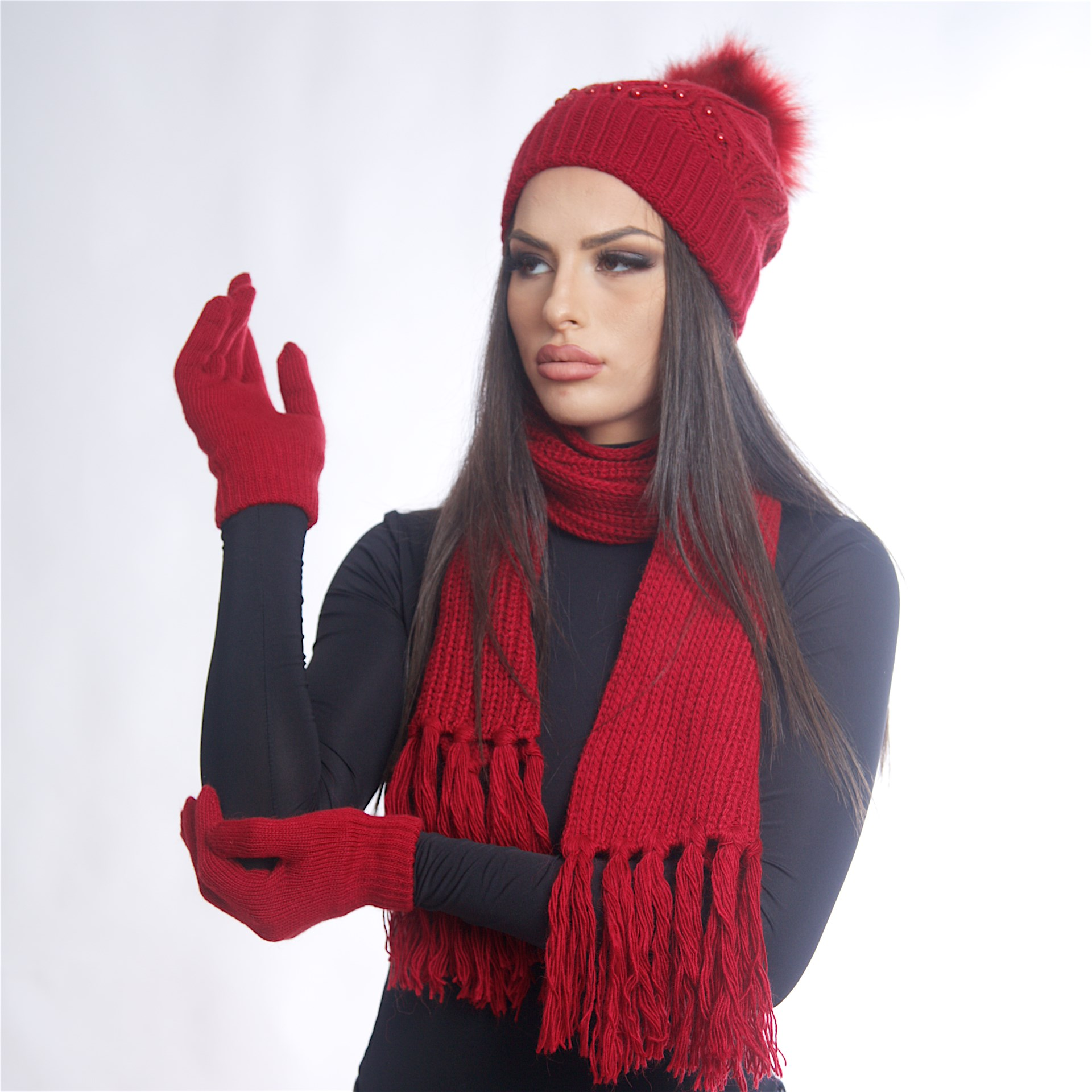 Дамски зимен комплект от 3 части бордо