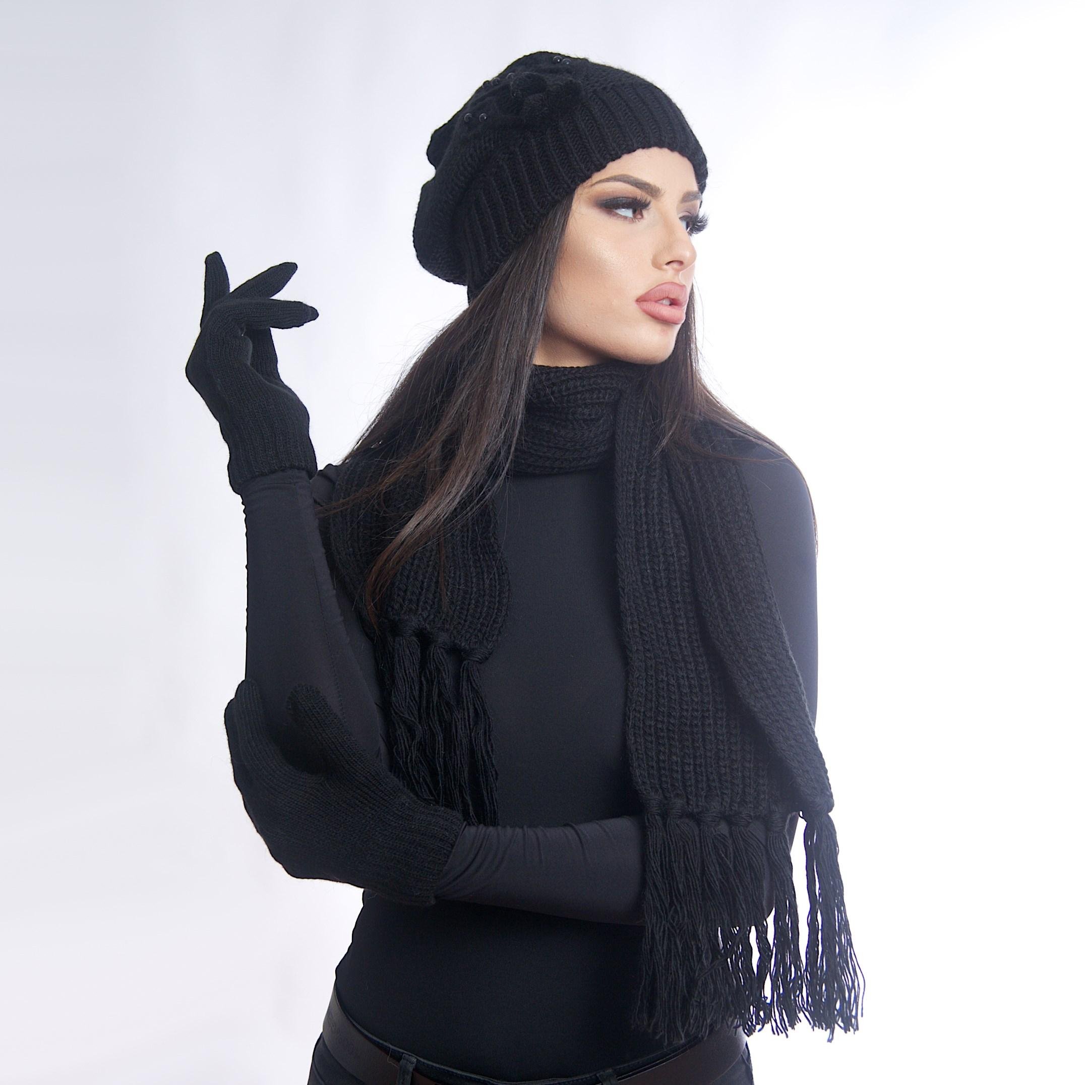 Дамски зимен комплект от 3 части черен