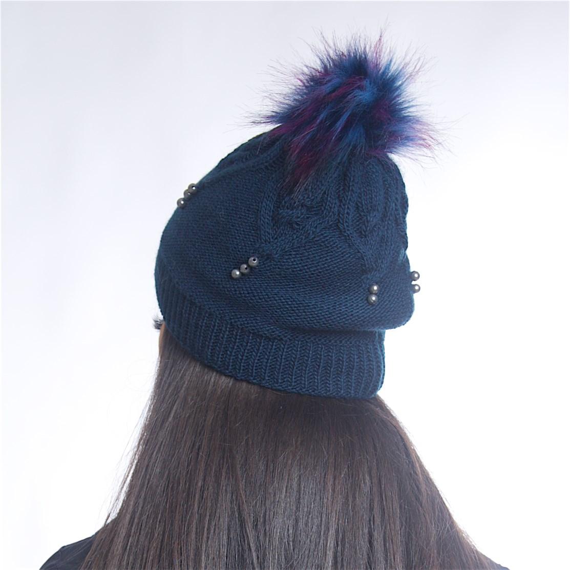 Дамски зимен комплект от 3 части тъмно син