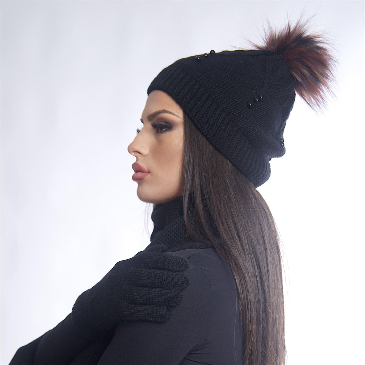 Дамски зимен комплект от 3 части в черен цвят