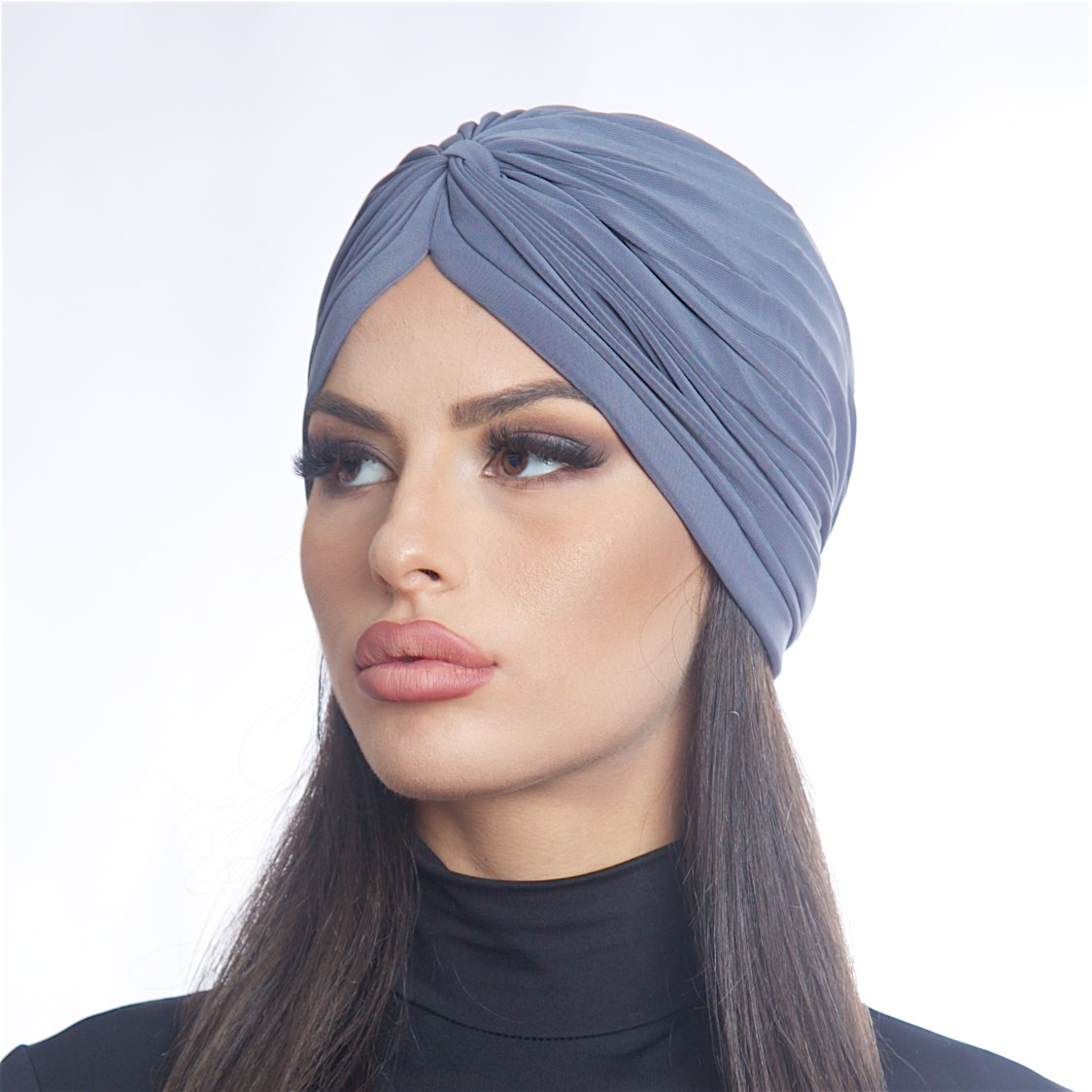Дамски тюрбан в тъмно сив цвят