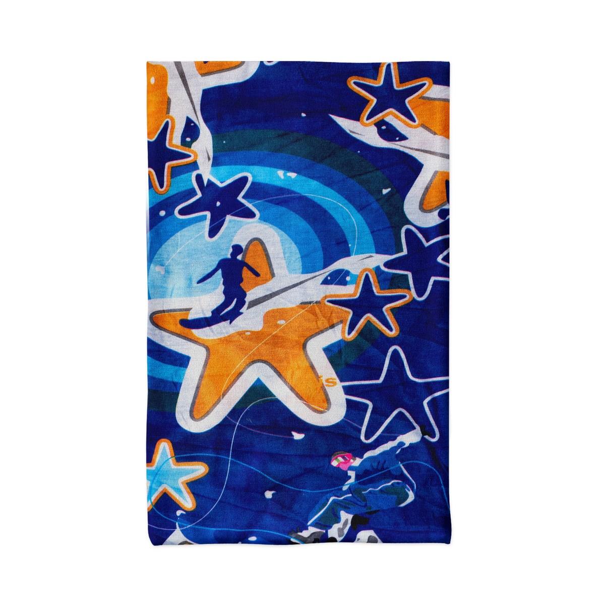 Многофункционална шарена кърпа за глава оранжеви и сини звезди
