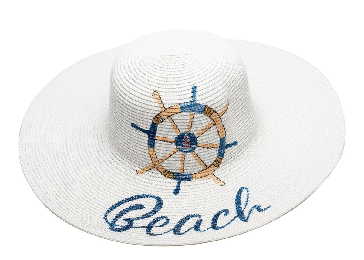 Дамска Капела Бяла Ръчно рисувана Beach