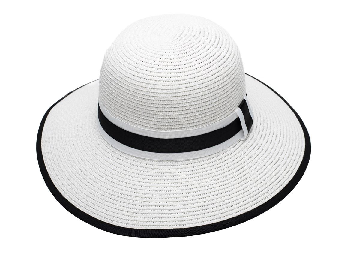 Бяла Дамска Капела с лента в бяло и черно