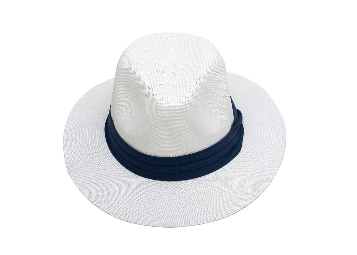 Мъжка Лятна Шапка Бяла със Синя лента