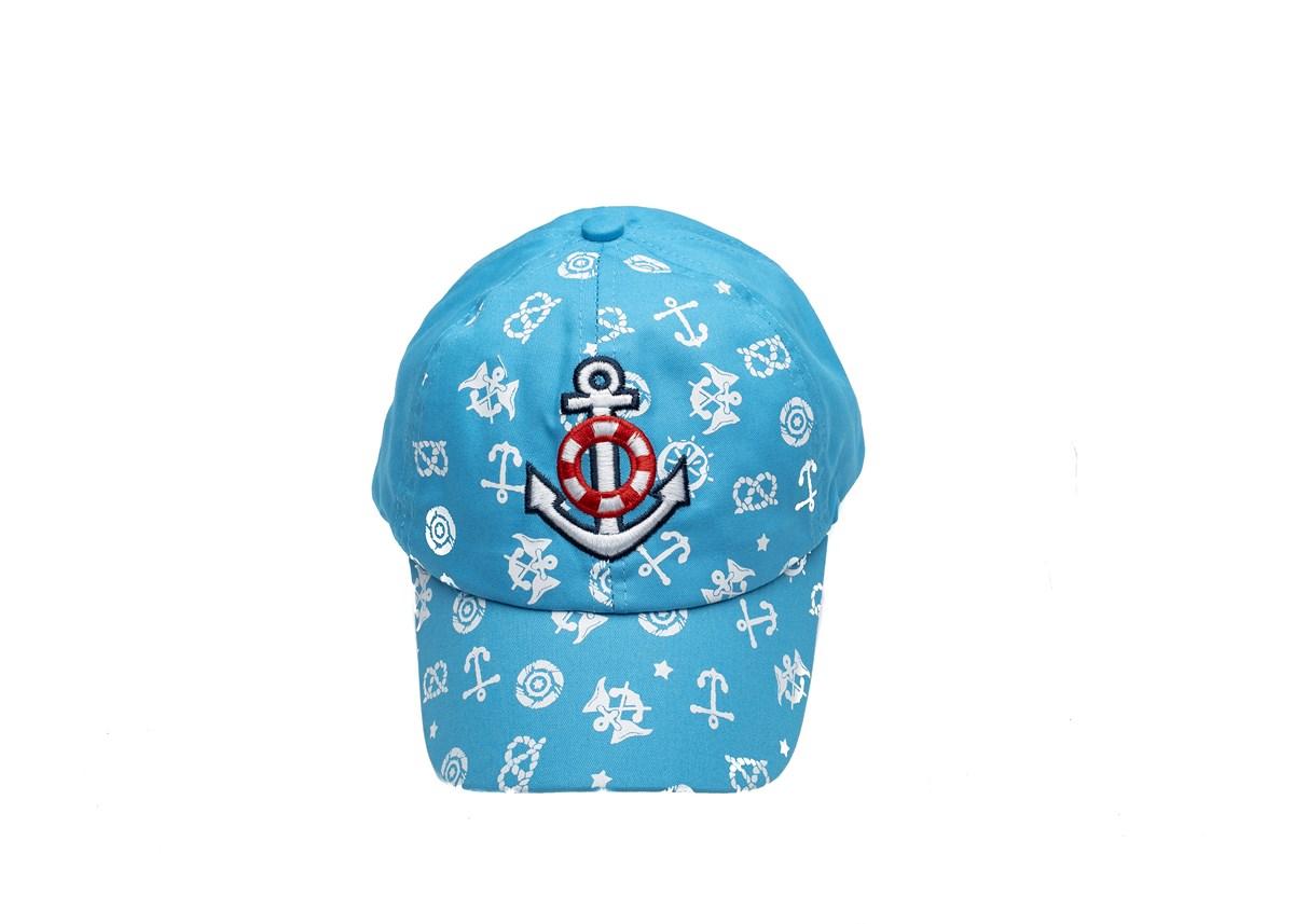 Светло синя Детска шапка с козирка с котвичка