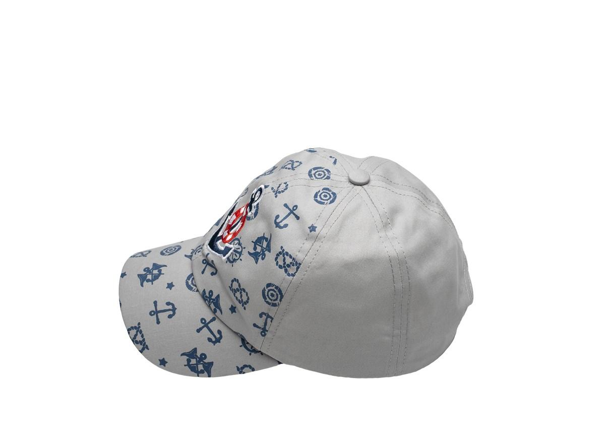 Сива Детска шапка с козирка с котвичка