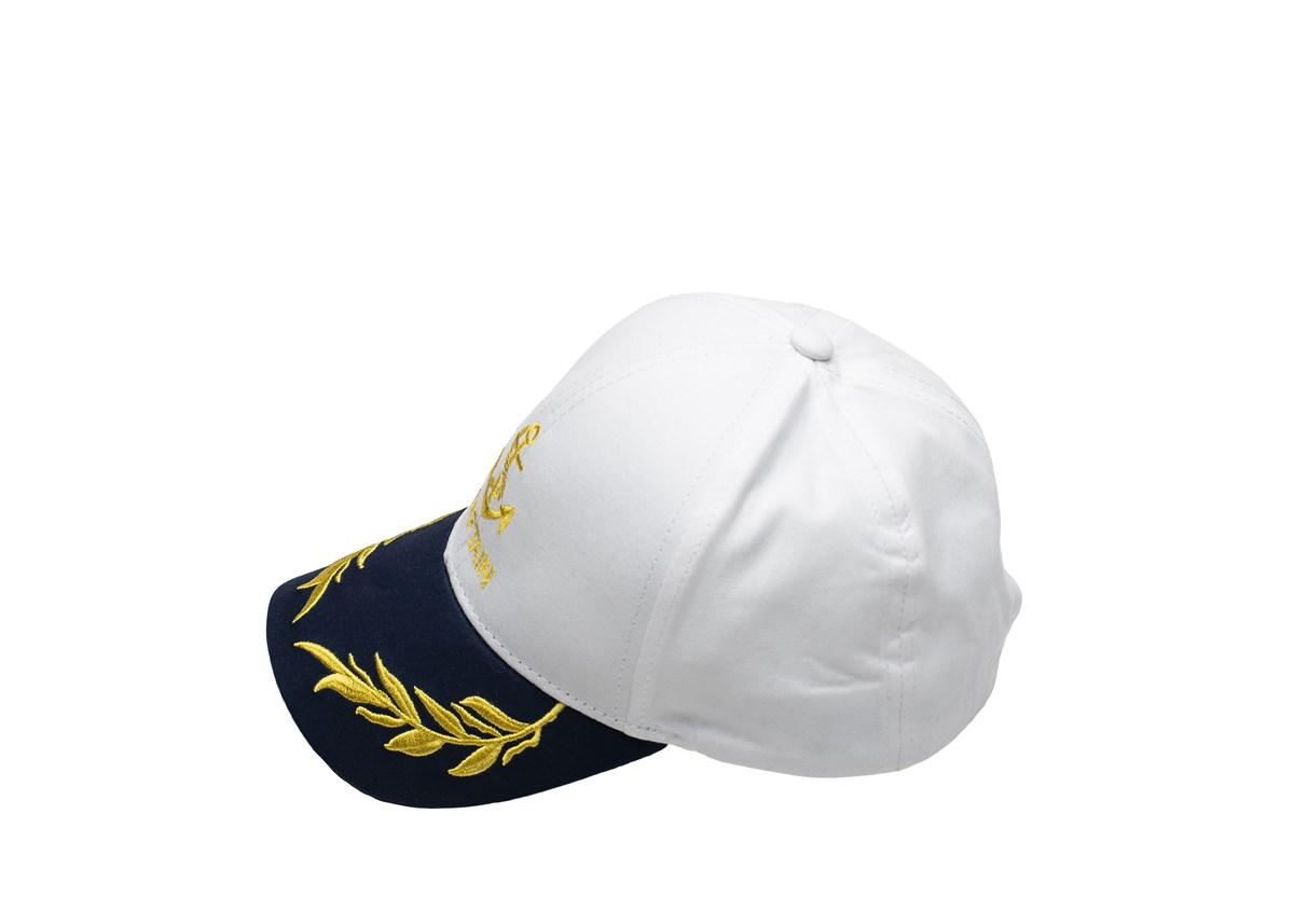 Бяла Детска капитанска шапка със синя козирка