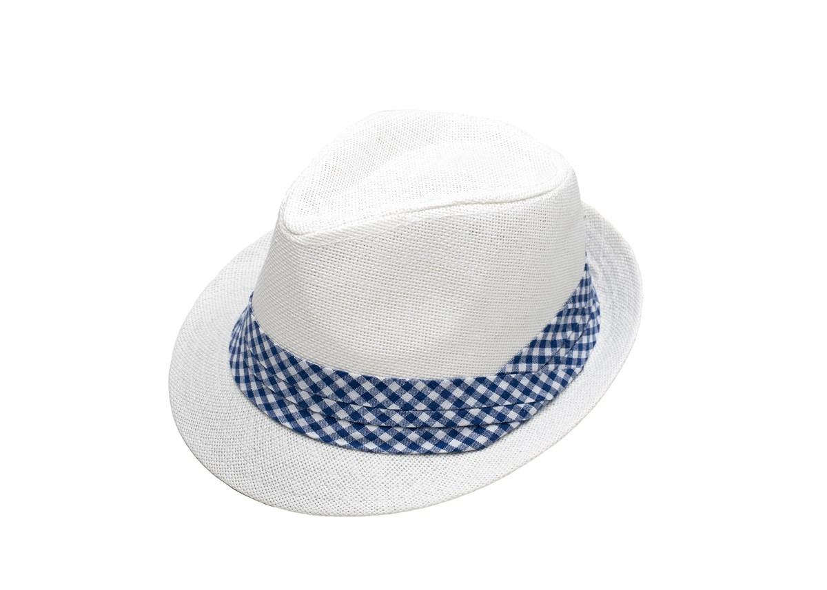 Бяло Бомбе с лента райе бяло и синьо
