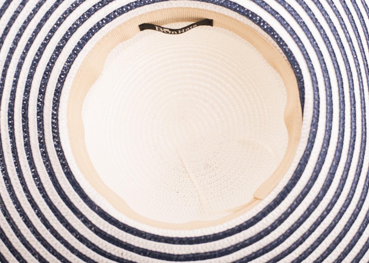 Бяла Капела синьо райе с лента сини палми
