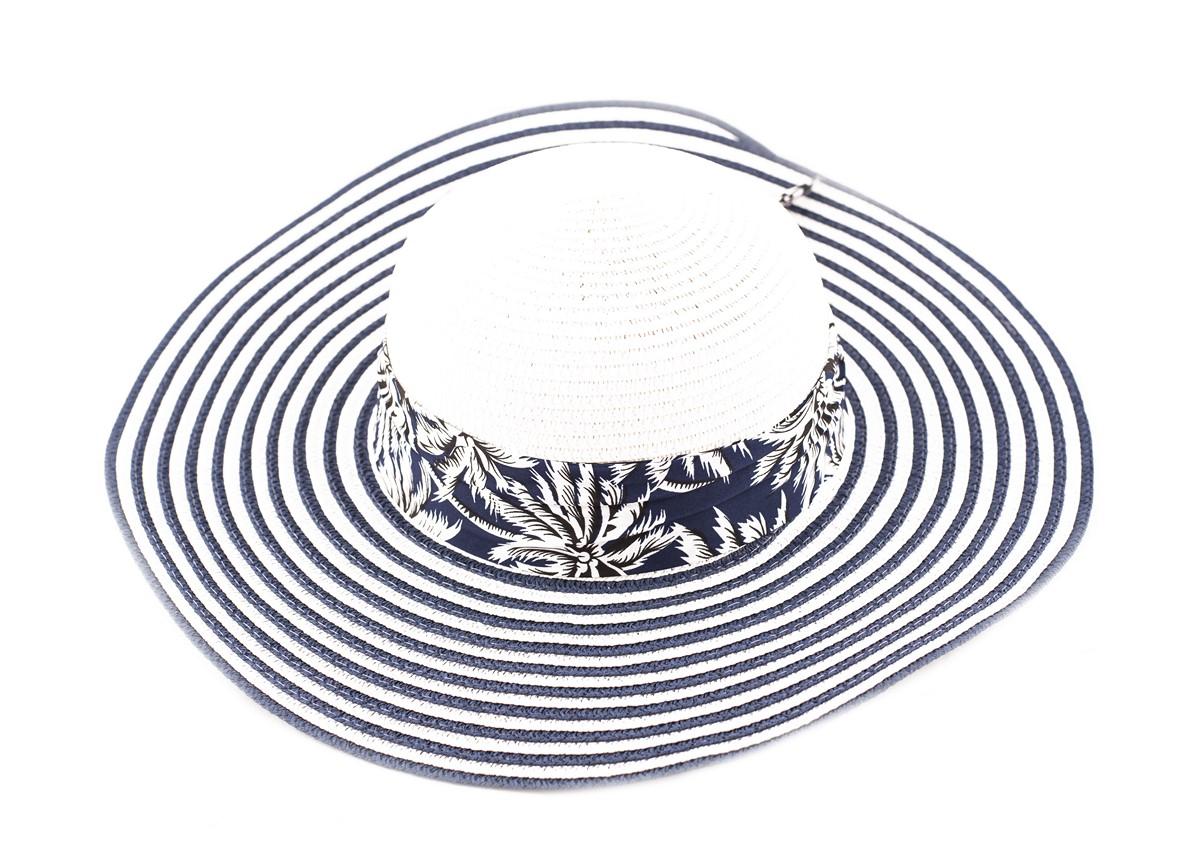 Бяла Капела синьо райе с лента тъмносини палми