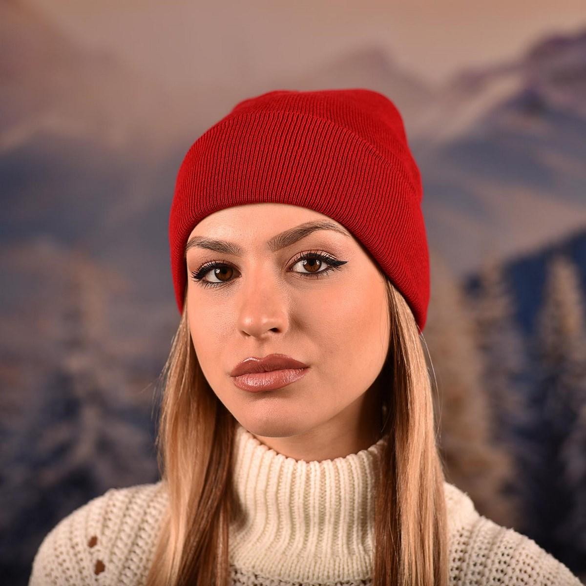 Червена Изчистена Плетена Шапка