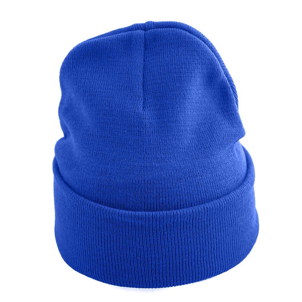 Синя Изчистена Плетена Шапка