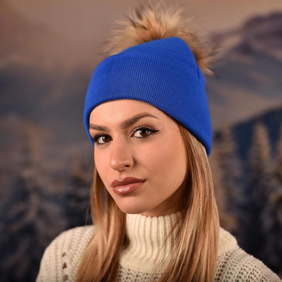 Синя Плетена Шапка с Помпон Естествен Пух