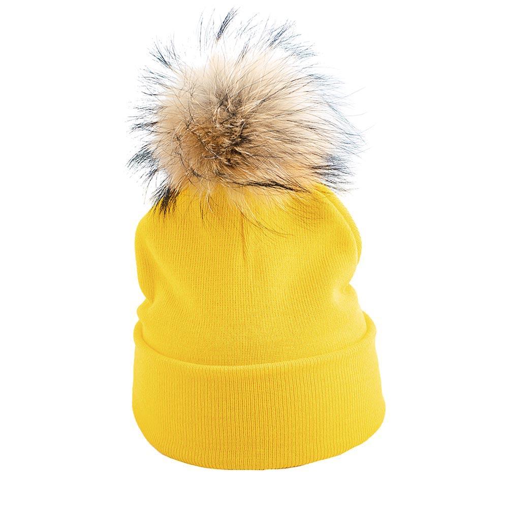 Жълта Плетена Шапка с Помпон Естествен Пух