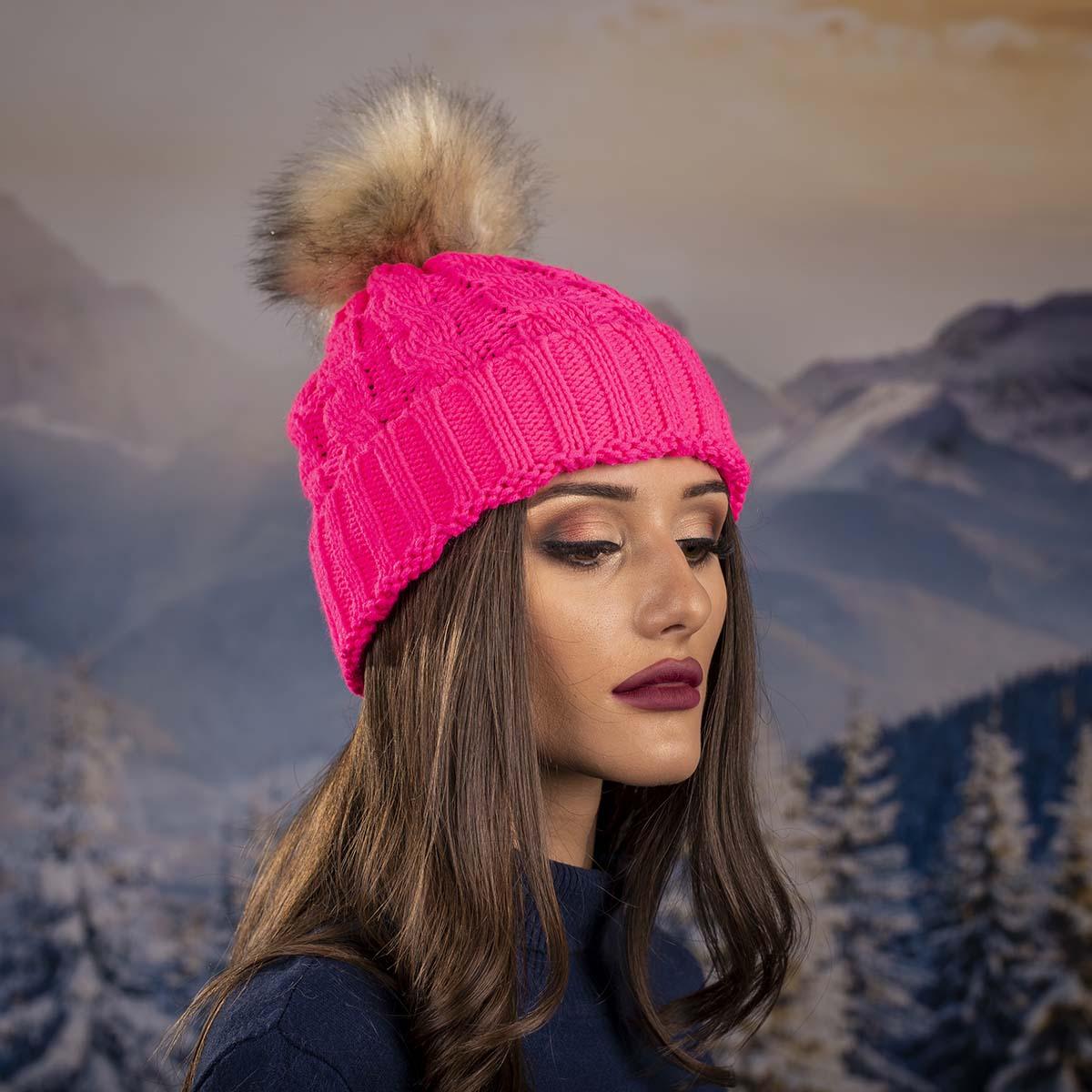 Дамска Зимна Шапка Розова