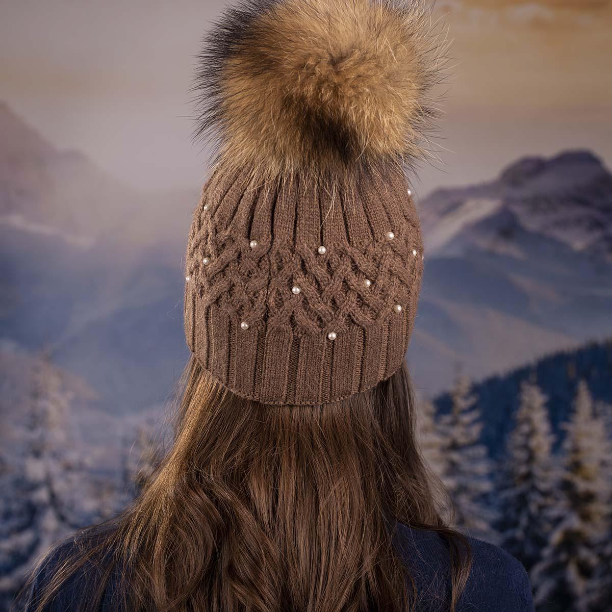 Кафява Дамска Зимна Шапка Естествен Пух