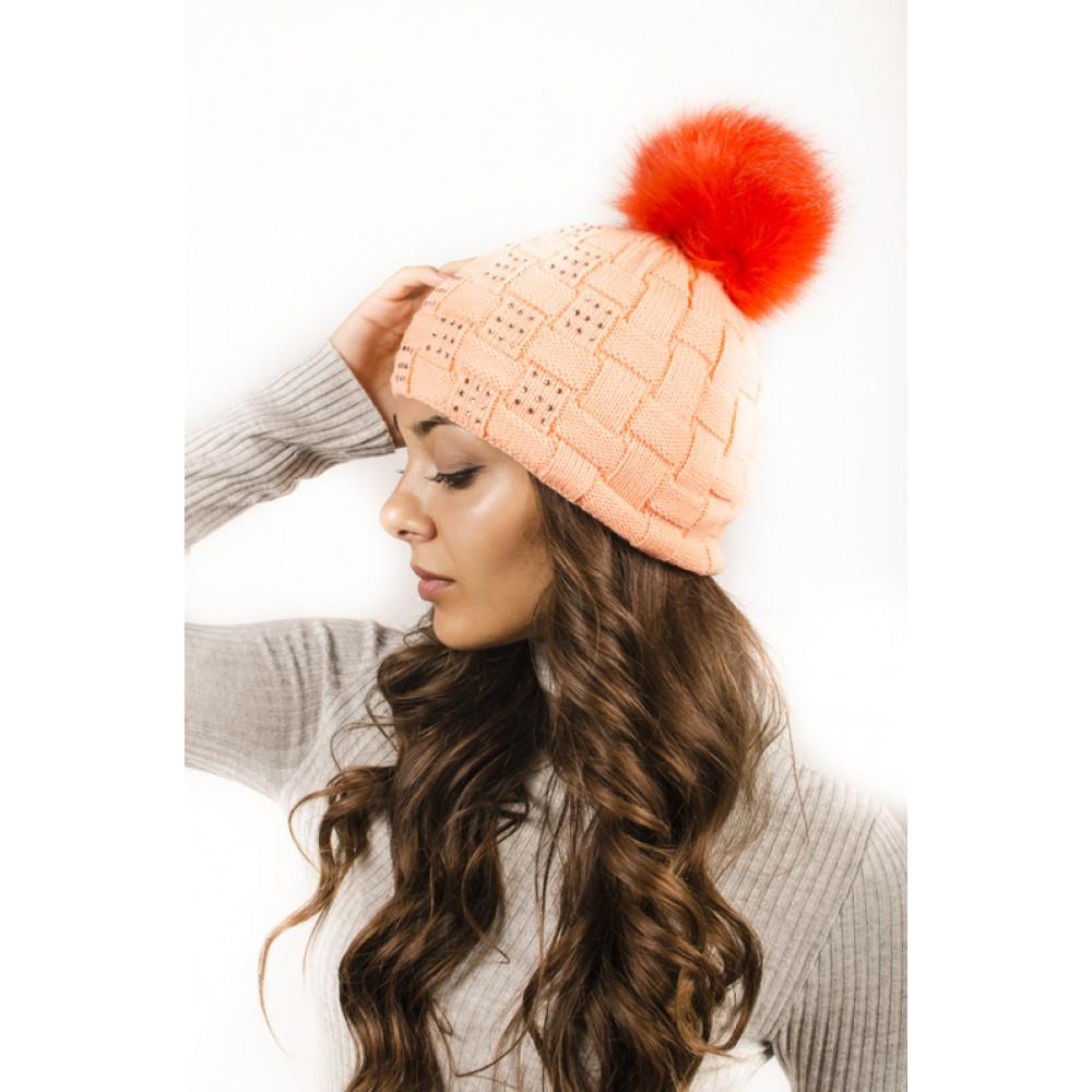 Плетена Дамска Зимна Шапка Оранжева с Камъчета