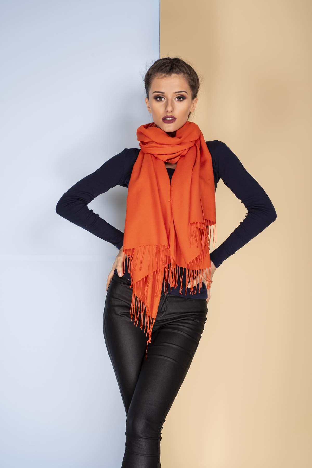 Оранжев Дамски Едноцветен Шал