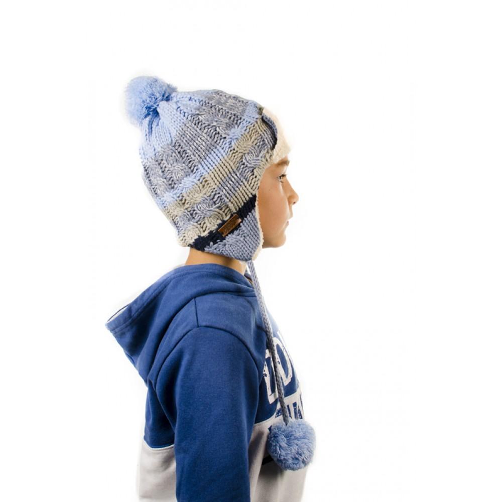 Светло Синя Детска Плетена Ушанка