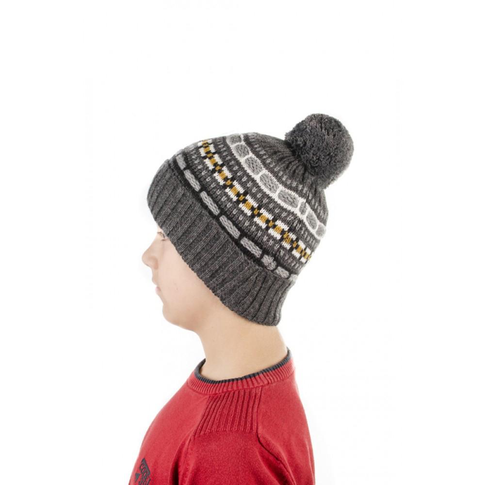Детска Зимна Шапка с Помпон в Тъмно Сиво