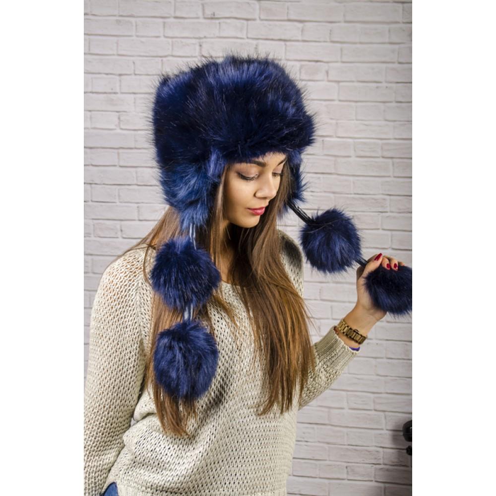 Тъмно Синя Пухкава Зимна Дамска Шапка
